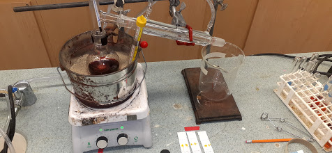 distillation of red reaction mixture