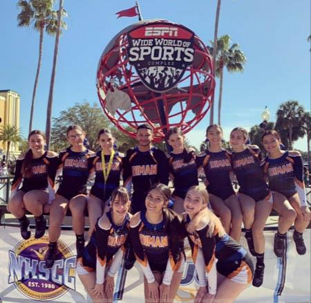 Here is the team at the National High School Cheerleading Championships in Orlando earlier this month. Pictured (left to right): front, Mariah Rodrigues, Nayelie Aponte, Kaitlyn Nickelson; rear, Chayliese Perez, Abby Correia, Alexdandra Therrien, Anthony Muniz, Karah Dias, Olivia Motta, Skyla Matthews, Madison Silvia