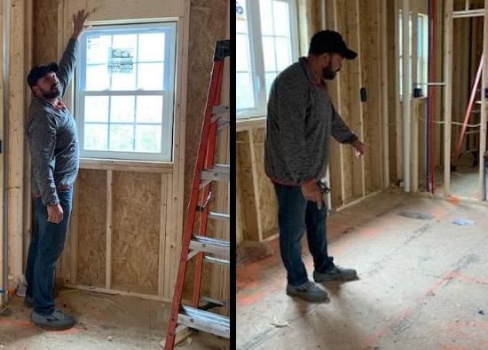 Manny Botelho, carpentry and cabinetmaking department head at Diman, describes a phase of house construction while being videoed. The house, in Westport, is being built by Robert Kfoury, who has given Botelho access to make instuctional video clips for Diman students [Submitted photo]