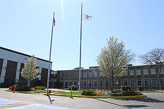 A picture of the front of the school