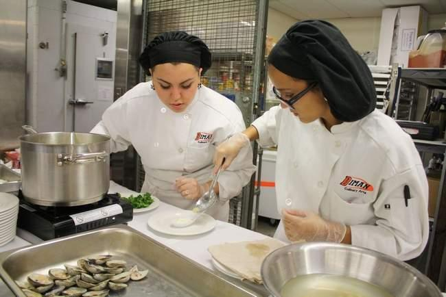 Diman Regional Vocational Technical High School culinary arts students Melinda Pereira and Shelby B